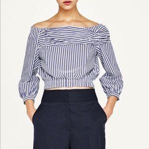 Zara Striped Off the Shoulder Shirt
